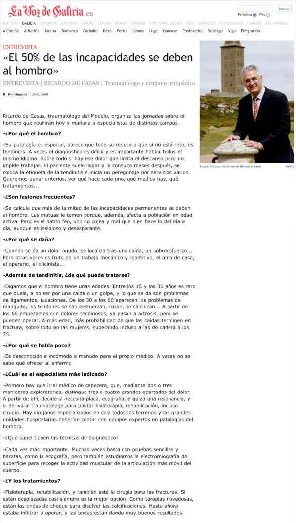 Entrevista Dr. de Casas en La Voz de Galicia